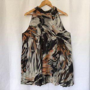 TRIBAL sleeveless flowy pleated blouse
